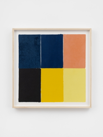 Ethan Cook, Two blues, two yellows, pink, black, 2020. Handmade pigmented paper 19 3/4 x 19 1/2 in, 50.2 x 49.5 cm (ECO20.024)