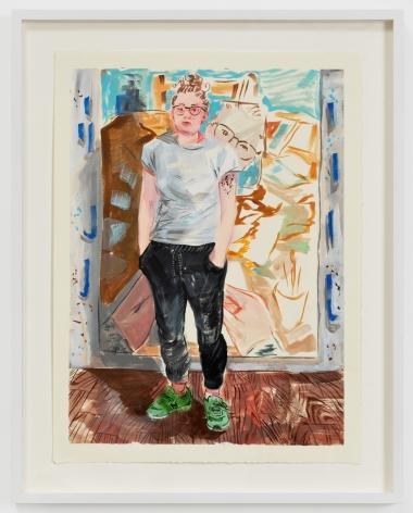Rebecca Ness, Studio isolation self portrait study, 2020. Gouache on paper, 9 x 12 in, 22.9 x 30.5 cm, 14 1/2 x 11 1/2 in (framed), 36.8 x 29.2 cm (RNE20.035)