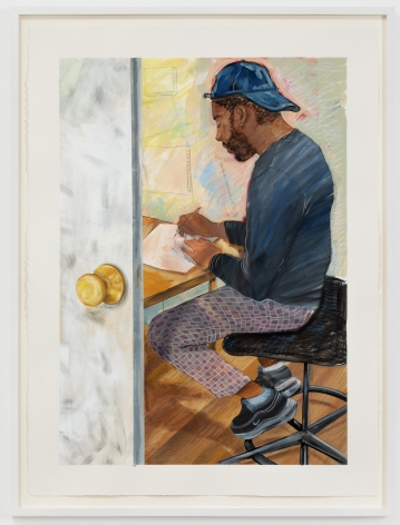 Rebecca Ness, Dom in his Studio, 2020. Gouache and colored pencil on paper, 30 x 22 in, 76.2 x 55.9 cm, 32 3/4 x 24 5/8 in (framed), 83.2 x 62.5 cm (RNE20.026)