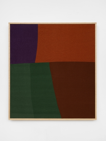 Ethan Cook, Logan, 2020. Hand woven cotton and linen, framed 32 x 29 in, 81.3 x 73.7 cm (ECO20.045)