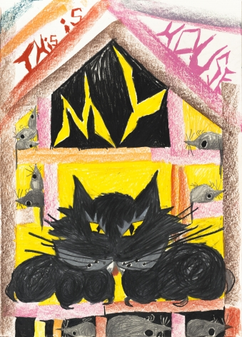 Bendix Harms, This is MY House, 2020. Wax crayon on paper, 27 1/2 x 19 3/4 in, 70 x 50 cm (BHA20.024)