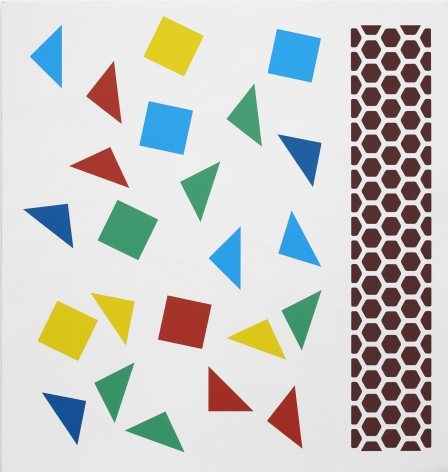 Thomas Wachholz, Piano, 2019. Red phosphorus and acrylic on canvas, 43.3 x 41.3 x 1.4 in, 110 x 105 x 3.6 cm (TW19.008)