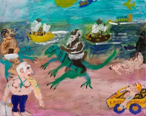 Raynes Birkbeck, Dinoback riding on the Beach, 2020. Oil and acrylic on canvas, 24 x 30 in, 61 x 76.2 cm (RBI20.010)