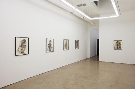 """Installation View of """"Body-Pose"""", """"Siegel Sagel…."""", """"Eine phantastische Erinnerung….."""", """"Stein im Hirn, Leben auf der Stirn (Face Farces)"""", and """"Zick"""""""
