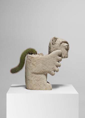 Stefan Rinck Wisdom Denier , 2014 Sandstone and Catcus 18 7/8 x 16 1/8 x 7 1/8 in 48 x 41 x 18 cm (SRI14.001)