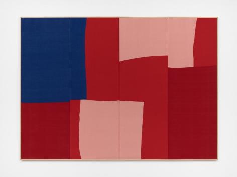 Ethan Cook, Schadenfreude, 2020. Hand woven cotton and linen, framed 70 x 96 in, 177.8 x 243.8 cm (ECO20.036)