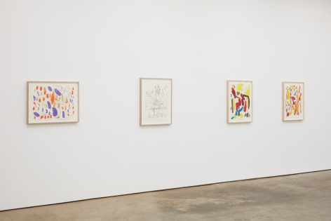 Installation View of Untitled Butzer Drawings (left to right): Purple, Black and White, Red/Yellow, Orange
