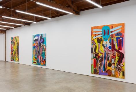 """Installation View of """"Ernst Ludwig Kirchner Hinrichtung im Jahre 1999"""" """"Wer hat Dr. Pfeffer erfunden?,"""", and """"Abstraktes Bild Nr. 4710d"""","""