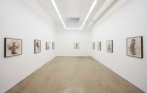 """Installation View of """"Face Farces"""" (2019) from Entrance"""