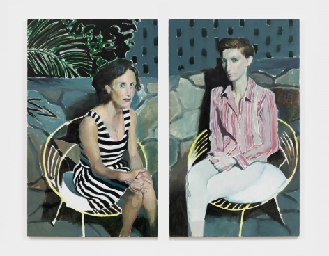Jonathan Wateridge Women on Patio, 2018 Oil on linen 59 1/8 x 70 7/8 in, two parts 150 x 180 cm, two parts (JWA21.061)