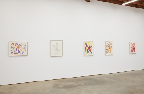 Installation View of Untitled Butzer Drawings (left to right): Purple, Black and White, Red/Yellow, Orange, Pink