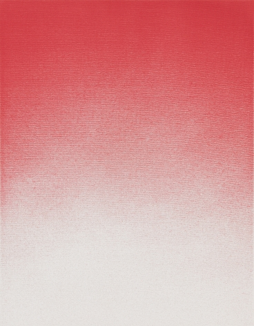 Thomas Wachholz, RED 0/100/100/0, 2016. Solvent inkjet print, alcohol on canvas, 25.2 x 19.7 inches, 64 x 50 cm (TW16.021)