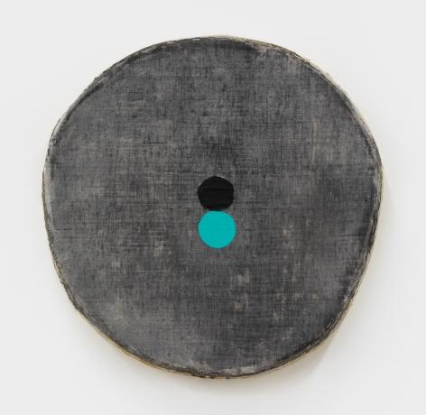 Otis Jones Black Circle, Aqua Circle, 2021 Acrylic on linen on wood 19 3/4 x 20 x 3 in 50.2 x 50.8 x 7.6 cm (OJO21.010)