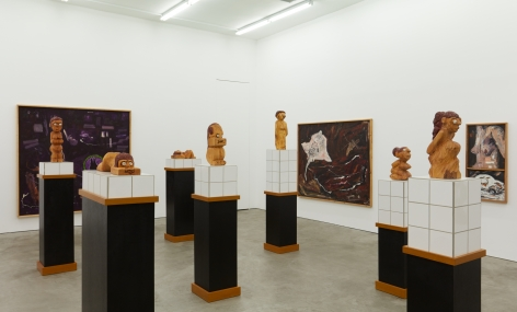 """Installation View of """"Damenbad KPX"""" series of sculptures from a Right Angle Zoomed In"""