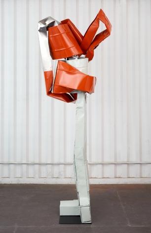 Anna Fasshauer, Lulatsch, 2018. Aluminum/car lacquer, 94 1/2 x 31 1/2 x 37 3/8 in, 240 x 80 x 95 cm (AF18.005)