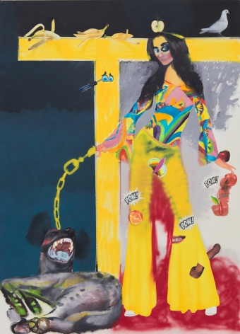 Alessandro Pessoli, Eva (Maddalena), 2019. Oil, spray paint, oil stick, tempera, soft pastels on canvas, 57 x 77 in, 144.8 x 195.6 cm (AP19.015)