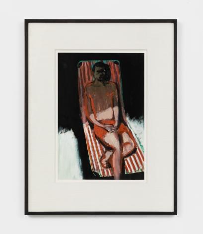 Jonathan Wateridge Lounger Study I, 2021 Oil on paper 18 x 13 3/8 x 1 1/2 in (framed) 45.7 x 34 x 3.8 cm (framed) 11 3/4 x 7 7/8 in (unframed) 30 x 20 cm (unframed) (JWA21.018)