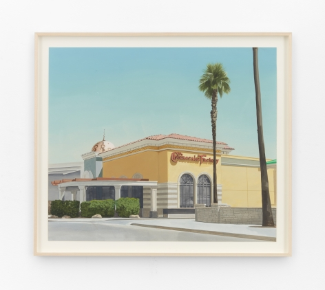 Jake Longstreth Orange County Cheesecake Factory, 2021 Oil on paper 18 3/4 x 22 in (unframed) 47.6 x 55.9 cm (unframed)  24 1/4 x 24 1/4 inches (framed) 61.6 x 61.6 cms (framed) (JLO21.027)