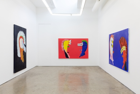 "Installation View of ""Black Elk Speaks"", of Black, Red, and a Blue Painting by Wulff"