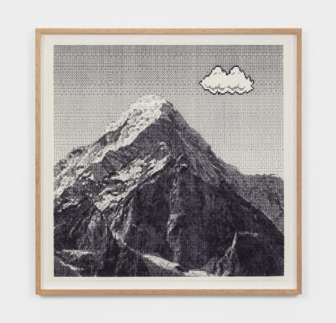 Arno Beck Untitled (Mountain), 2021 Typewriter-drawing on paper 17 3/4 x 17 3/4 in 45 x 45 cm (ABE21.002)