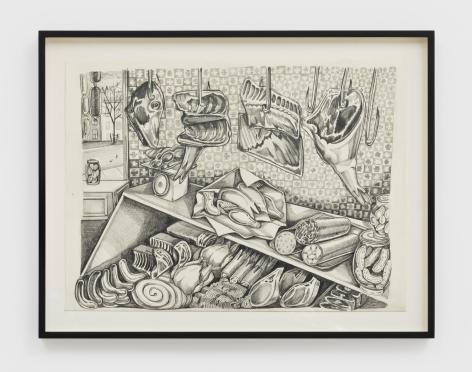 Nikki Maloof Butcher Study, 2021 Graphite on paper  11 1/2 x 15 1/2 in (unframed) 29.2 x 39.4 cm (unframed) 14 x 18 x 1 1/2 in (framed) (NMA21.004)