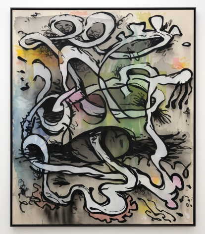 Jan-Ole Schiemann, Verkettung, 2016. Ink and acrylic on canvas, 55 x 47 inches, 130 x 120 cm (JS16.024)