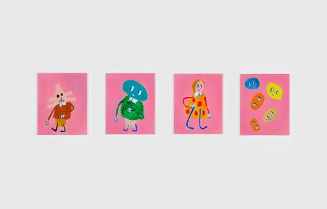 André Butzer, Untitled, 2018, Oil and acrylic on canvas, 20 x 16 in (each), 50.8 x 40.6 cm (each), AB18.036