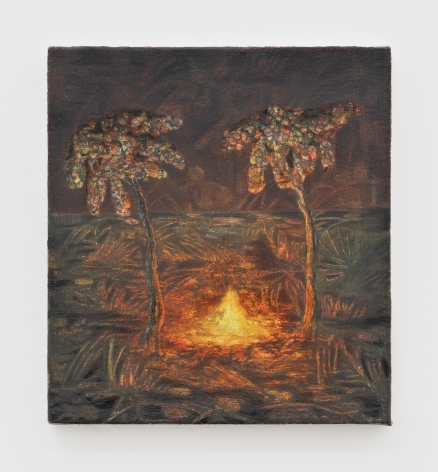Marin Majic Two Palms and a Fire, 2021 Colored pencil, oil color, marble dust on linen 11 x 10 in 27.9 x 25.4 cm (MMA21.033)