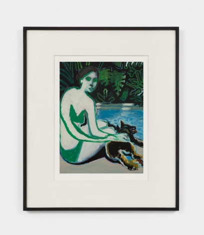 Jonathan Wateridge Woman with Dog III, 2021 Oil on digital print of work in progress 15 1/2 x 13 x 1 1/2 in (framed) 39.4 x 33 x 3.8 cm (framed) 9 1/2 x 7 1/8 in (unframed) 24 x 18 cm (unframed) (JWA21.038)
