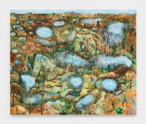 Sophia Heymans Wetlands, 2021 Oil, prairie grass seeds, moss, papier-mâché, molding paste, mop strings on canvas 50 x 60 in 127 x 152.4 cm (SHE21.002)