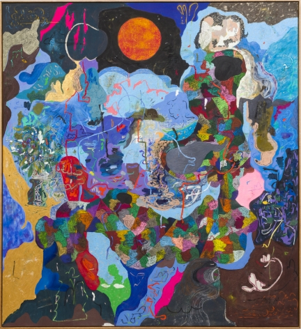 Michael Bauer Blue Cave, Red Moon and Aunts, 2019 Oil, crayon, pastel and acrylic on canvas 76 x 70 in 193 x 178 cm (MB19.017)
