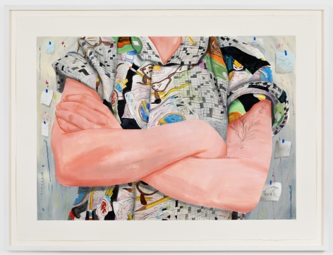 Rebecca Ness, Arms Crossed, 2020. Gouache and graphite on paper, 22 x 30 in, 55.9 x 76.2 cm, 24 5/8 x 32 3/4 in (framed), 62.5 x 83.2 cm (RNE20.032)