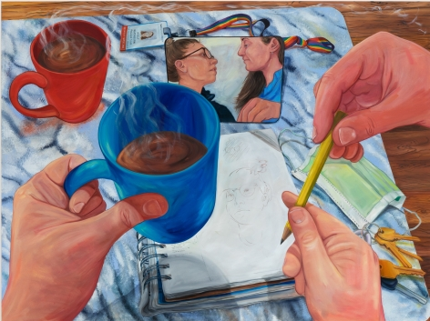 Rebecca Ness, Put the pencil down, my love, 2020. Oil on linen, 60 x 80 in, 152.4 x 203.2 cm (RNE20.014)