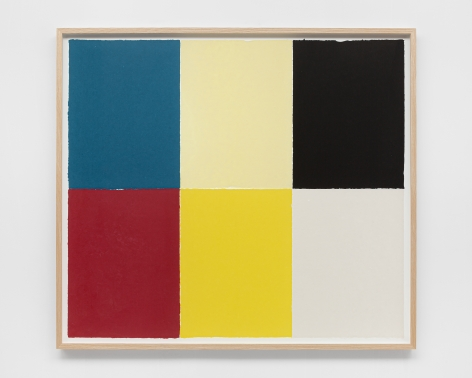 Ethan Cook, Blue, red, alabaster, yellow, black, white, 2020. Handmade pigmented paper 51 1/2 x 57 1/2 in, 130.8 x 146.1 cm (ECO20.026)