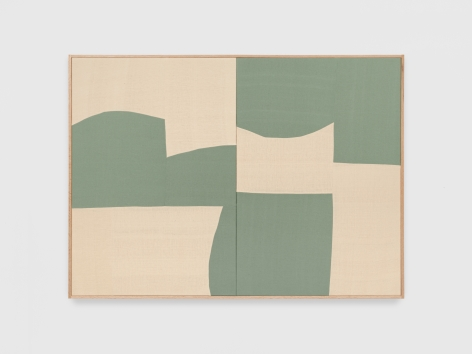 Ethan Cook Untitled (Green Alabaster), 2021 Handwoven cotton and linen, framed 43 x 60 in 101.6 x 152.4 cm (ECO21.012)