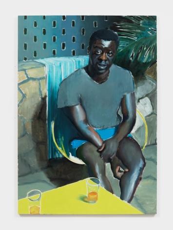 Jonathan Wateridge Man on Patio, 2018 Oil on linen 70 7/8 x 49 1/4 in 180 x 125 cm (JWA21.063)