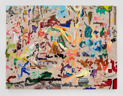 Cindy Phenix Inhabits a Theatrical Space where Contradictions introduce Life and Death, 2021 Oil and pastel on linen 72 x 96 in 182.9 x 243.8 cm (CP21.002)
