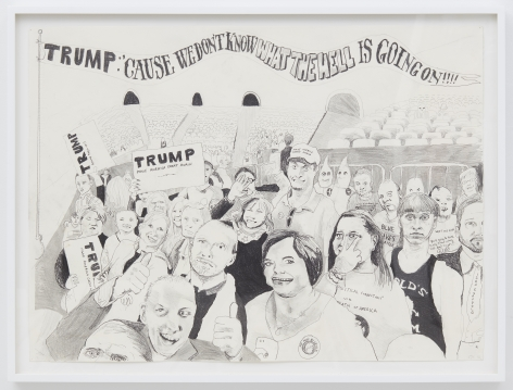 Celeste Dupuy-Spencer Trump Rally (And Some of them I Assume Are Good People), 2016 Pencil on paper 24 x 30 in 61 x 76.2 cm (CDS16.007)