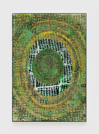 Mindy Shapero Scar of Midnight Portal (life green, rings inside, radiating out), 2021 Spray paint, acrylic, gold, copper, and silver leaf on paper 44 3/4 x 30 3/4 x 1 1/2 in 113.7 x 78.1 x 3.8 cm (MS21.009)