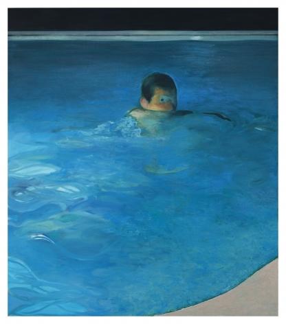 Jonathan Wateridge Night Swim, 2019 Oil on linen 78 3/4 x 68 7/8 in 200 x 175 cm (JWA20.011)
