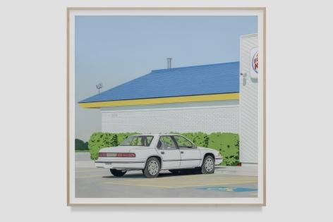 Jake Longstreth White Chevy Lumina, 2021 Oil on paper 34 1/8 x 34 1/8 in (unframed) 86.7 x 86.7 cm (unframed)  36 1/2 x 36 1/2 inches (framed) 92.7 x 92.7 cms (framed) (JLO21.029)