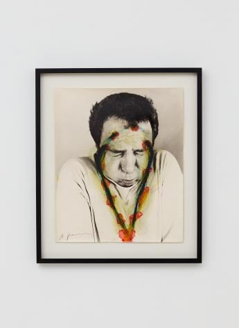 Arnulf Rainer, Ohne Titel, 1971-1973, Oilstick, ink, oil on photograph, 23 5/8 x 19 3/4 in (60 x 50 cm), ARA19.008