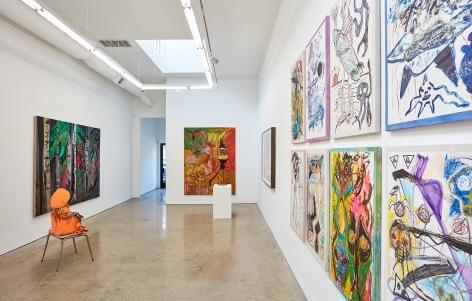 Installation View 2 of Aidas Bareikis, Kim Dorland & Bill Saylor (June 25, 2016 – August 6, 2016). Nino Mier Gallery, Los Angeles, CA