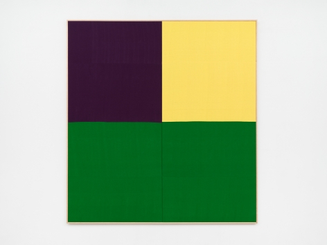 Ethan Cook, Mass, 2020. Hand woven cotton and linen, framed 80 x 86 in, 203.2 x 218.4 cm (ECO20.033)