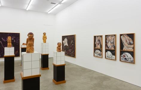 """Installation View of """"Werner Büttner Works from the Eighties"""" (2019), specifically highlighting """"So ist es aber: Kleiner Hängebusen voller Fingerabdrücke und verschneiter VW"""""""