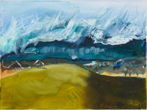 Celeste Dupuy-Spencer, Grand Panorama of the Wave (Fall On Your Knees), 2018. Oil on canvas, 9 x 12 in, 22.9 x 30.5 cm (CDS18.012)