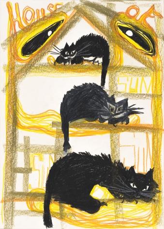 Bendix Harms, House of Sun Sun, 2020. Wax crayon on paper, 27 1/2 x 19 3/4 in, 70 x 50 cm (BHA20.018)