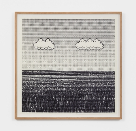 Arno Beck Untitled (Meadow), 2021 Typewriter-drawing on paper 17 3/4 x 17 3/4 in 45 x 45 cm (ABE21.001)