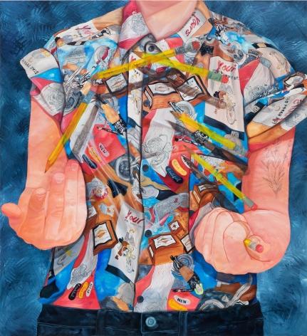 Rebecca Ness, Pencil Flipper, 2020. Oil on linen, 83 x 90 1/2 in, 210.8 x 229.9 cm (RNE20.012)
