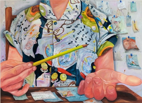 Rebecca Ness, Thinking, 2020. Oil on linen, 71 x 51 in, 180.3 x 129.5 cm (RNE20.015)